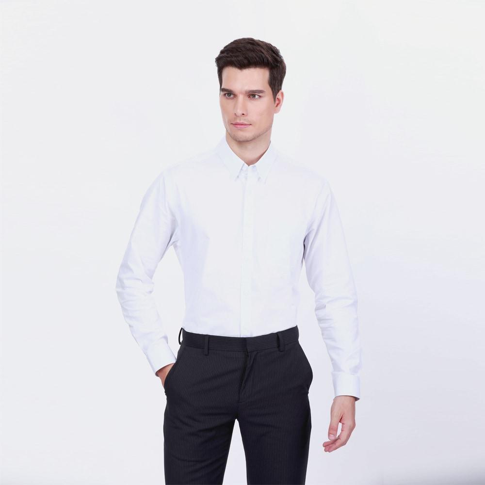 เสื้อเชิ้ตคอตตอนลายHerringbone(Slim Fit)  - SB 9FFS0083-121 - สีฟ้า