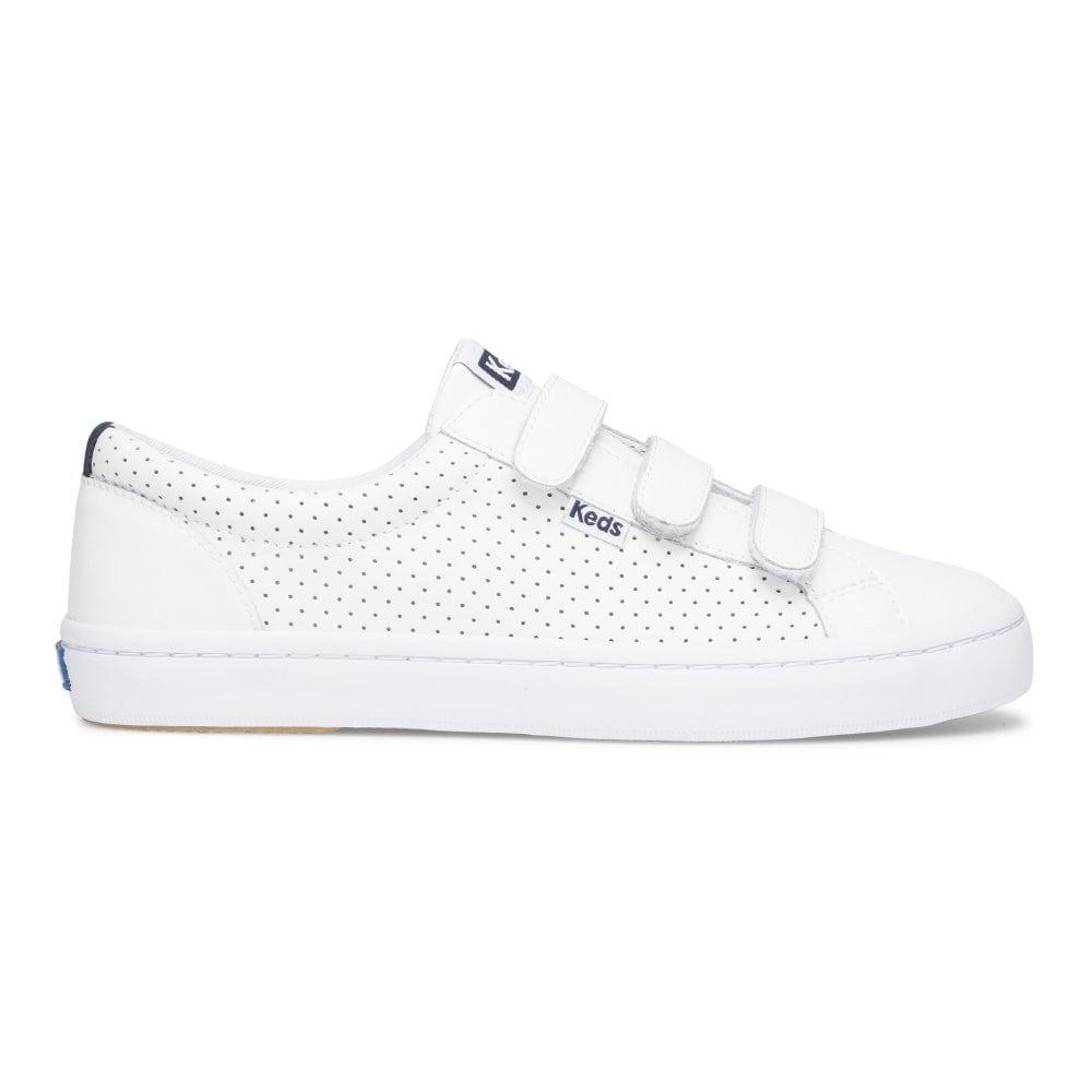 รองเท้าผ้าใบ แบรนด์ Keds รุ่น Tiebreak Perf Leather Wht สีขาว