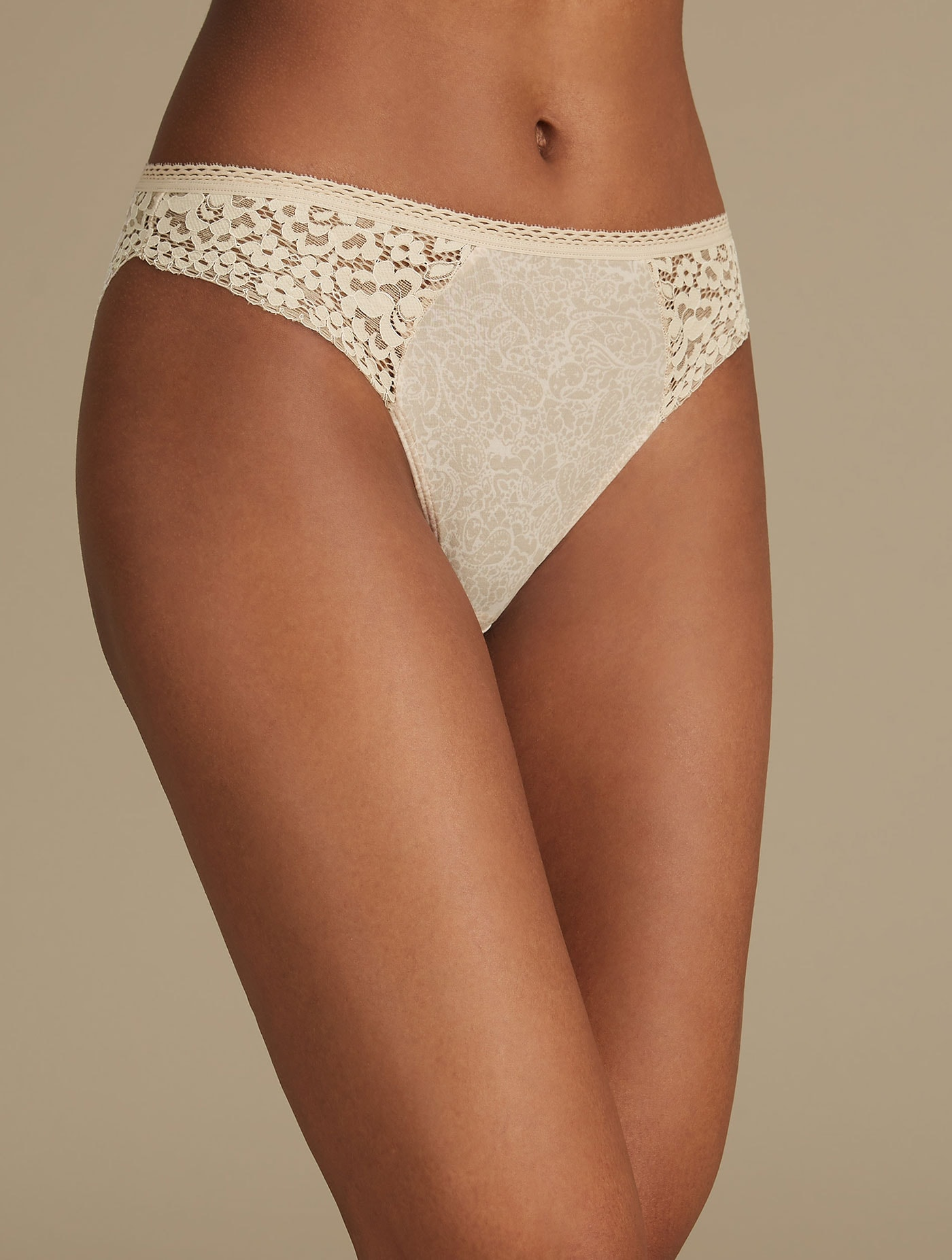 M/&S COLLECTION Women/'s Cotton Rich Vintage Lace High Leg Knickers New!!