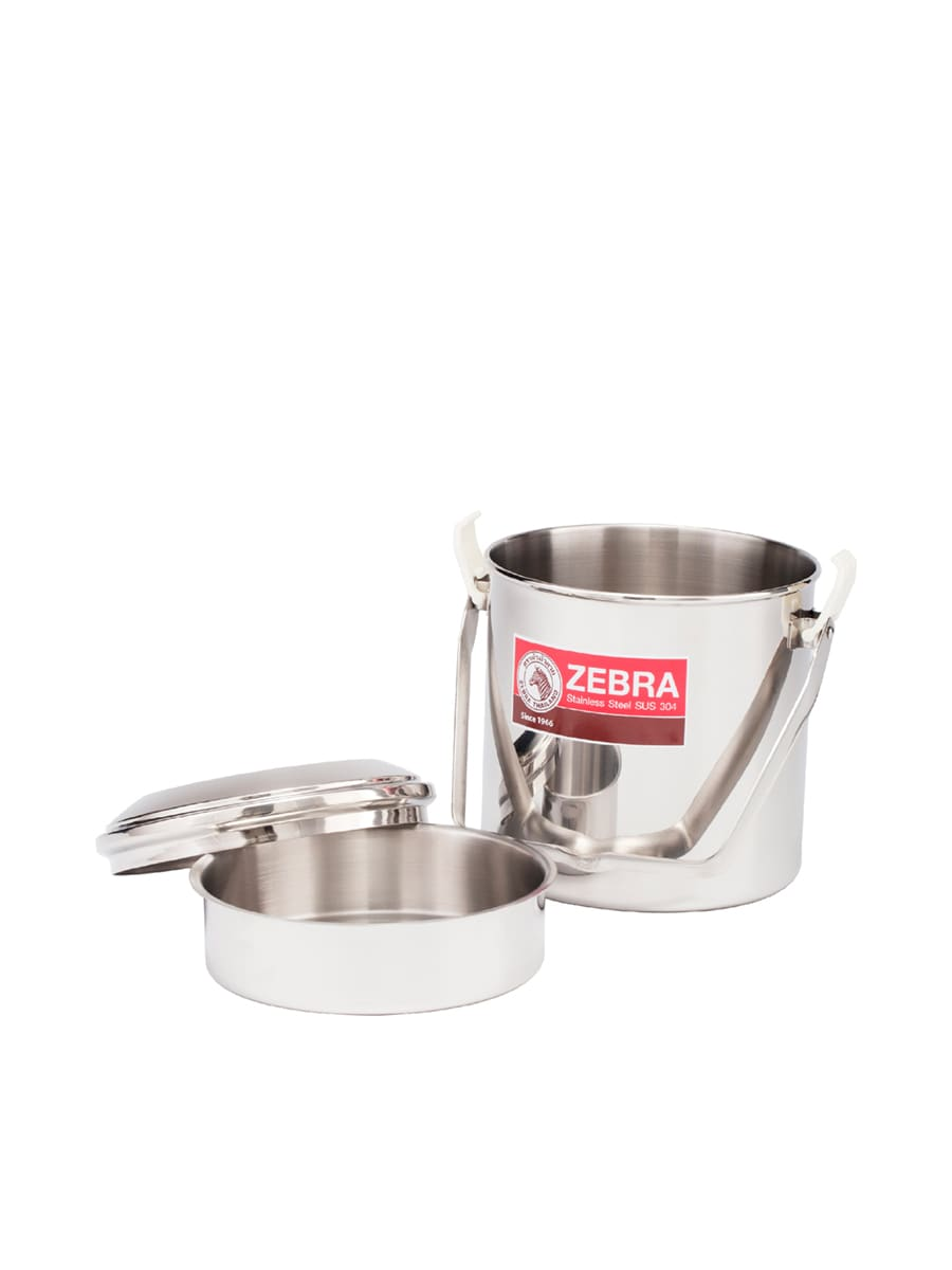 Silver ZEBRA THAILAND Loop Handle Pot Auto Lock 14 cm Stainless Steel